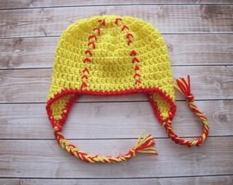 Baby Softball Hat, Newborn Sports Hat, Infant baby Ear Flap Hat with Ties, Baby Halloween Hat, Baby Girl Hat, Newborn Boy Hat