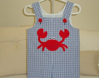 Boy Jon Jon ShortAll Blue Summer with Applique Crab for Summer and Beach