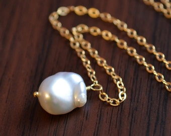 Simple Pearl Necklace, Gold Filled, Genuine Freshwater White Keishi, Summer Jewelry, Wire Wrapped Pendant, Free Shipping