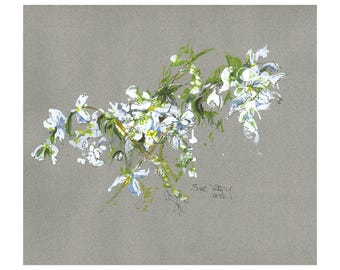 Blossom MOUNTED Giclee Print from mixed media