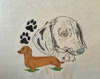 Dachshund Pillow, Doxie Pillow, Reading Pillow, Dog Portrait, Custom Embroidery, Pocket Pillow, Home Decor, Dog Lover Gift