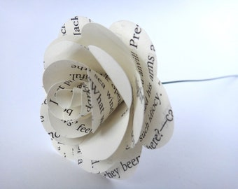 Mini White Book Page Flowers