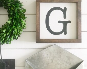 """Letter Painted Wood Sign - Initial Sign - Last Name Letter - Last Name Sign - (8""""x8"""")"""