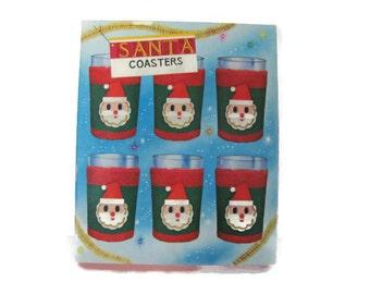 Vintage Christmas Coasters, 1970's Santa Coaster Set, Terrycloth Coasters, Mid Century, Christmas Decor, Vintage Santa
