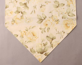 """Yellow and Cream Roses Table Runner, Small 36"""" Table Runner, Floral Table Runner"""