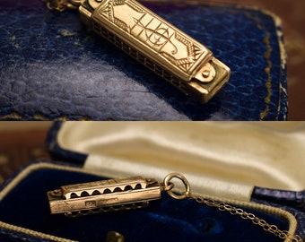 Vintage Gold Harmonica Charm Pendant, c1960