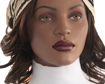 Zebra Print Headband Black Tan All Cotton Dreadlock Headband Dreadie Headband Handmade