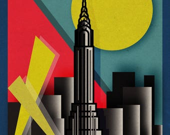 New York City Retro Illustration Print