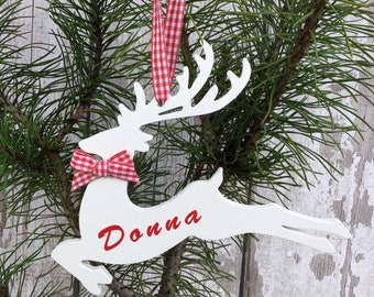 Personalised Bauble - Personalised Xmas - Reindeer Decoration - Christmas Decoration - Rustic Christmas - Rustic Home Decor - Wood Reindeer