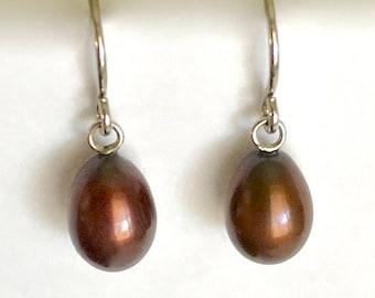 Vintage Genuine Brown Pearl Sterling Silver Dangle Earrings June Birthstone Gift For Her