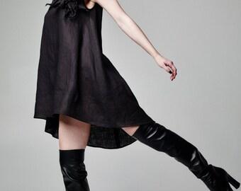 Linen Dress, Black Dress, Women Dress, Sleeveless Dress, Plus Size Dress, Gothic Dress, Avant Garde Dress, Black Loose Dress, Elegant Dress