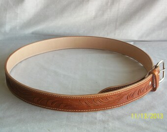 "Handmade Leather Belt 34.5"" waist"