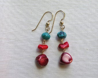 Turquoize and Coral Earrings with Gold Filled
