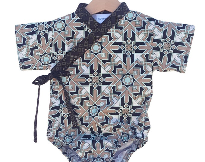 Baby Kimono Bodysuit - MOSAIC SAND - Baby outfit - cool baby clothes japanese jinbei