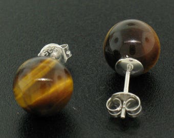 Sterling Silver Classic Simple Elegant 10mm Tiger's Eye Ball Bead Stud Post Earrings