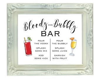 Bloody and Bubbly Bar, 8x10 Printable Mimosa and Bloody Mary Bar, Digital Wedding Bar Sign, Open Bar Sign, Bridal Brunch Sign, DIY Mimosa