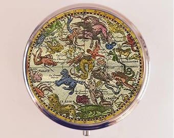 Antique Zodiac Pill Box Case Pillbox Holder Trinket Stash Box Astrology Astrological Occult Two