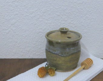 Honey Crock Jar - Handmade Stoneware Ceramic Pottery - Bamboo Ash and White - 14 ounce