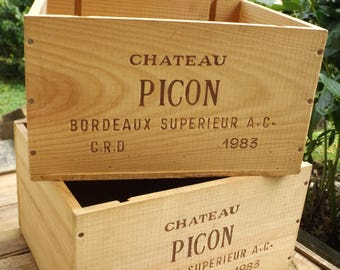 Castle PICON box 1983 top Burgundy / wine box made in France vintage wood