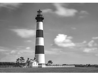 black and white Bodie Island lighthouse