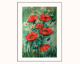 Handpainted Watercolor Greeting Card with Poppy Flowers and Daisies - Original Artwork