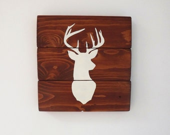Stag's Head Silhouette - Wooden Sign