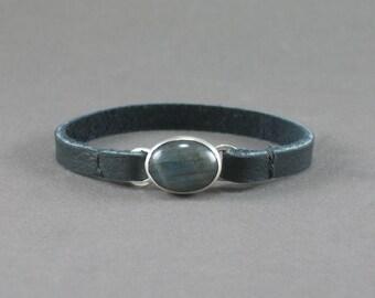Labradorite Leather Bracelet