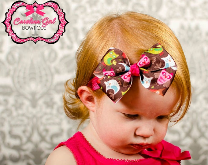 Owls  Bow Band - Bow on an Elastic Headband Baby Infant Toddler - Girls Hair Bows
