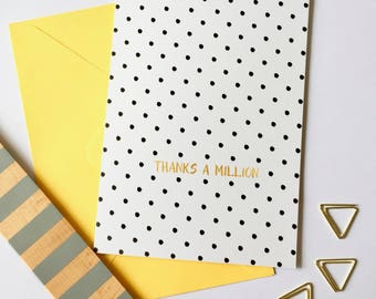 Polka Dots | Thanks A Million | Thank You Card | Card For Her | Birthday Thank You | Graduate Thank You | Engagement Card | Thank You Note