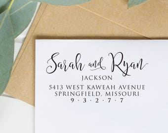 Return Address Stamp, Self Inking Stamp, Wedding Gift, Housewarming Gift, Calligraphy, Personalized, Wood Stamp, Family Address Stamp (T486)