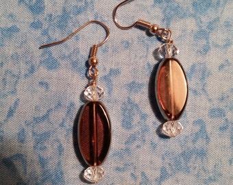 Hand Beaded Purple Glass Earrings