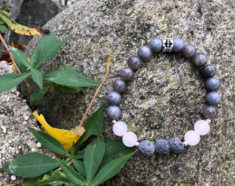 Rose Quartz with Mist Grey Agate Beads