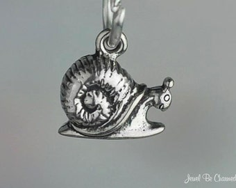 Miniature Sterling Silver Snail Charm Happy Snails Tiny Solid .925