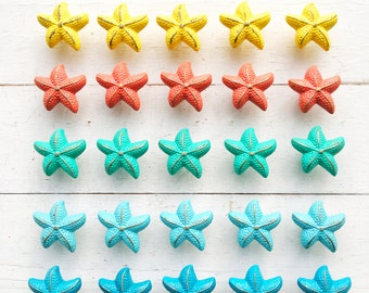 Bright Color Starfish Drawer Knob ,Small and Large Chic Distressed Metal-Lavendar Seaside Cottage-Nautical Childrens Room-Coastal Bathroom