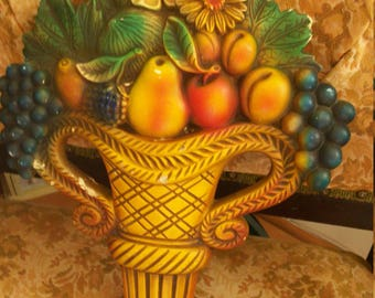 Kitschy Vintage Chalk ware /Wall Plaque /Fruit/ Flowers/ Basket/Kitschy Decor