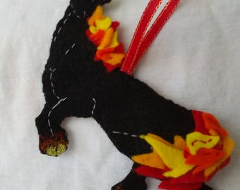 horse ornament made from felt