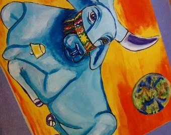 Taurus Star Sign,Taurus Astrology Art Card, Taurus Earth Sign Card, Peaceful Blue Brahm Bull Peace on Earth Free Shipping in United States
