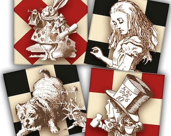 Alice and Friends Inchies Collage Sheet - Instant Download - Printable - One Inch Squares - John Tenniel Illustrations