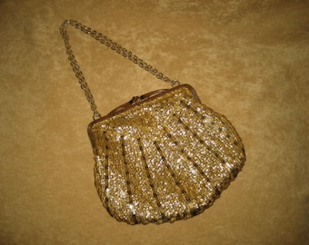 Gold Lame Beaded Purse Small 50s 60s Vintage