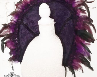 Purple lace and feather collar,shoulderpiece-Wgt- Gothic feather collar-lace and fether gothic collar-collar-Halloween