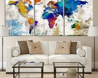 World Map Canvas - Push Pin World Map Print Art, World Map Travel, Large World Map Print, World Map Wall Art, Watercolor World Map Art Print
