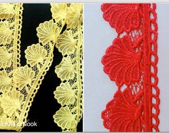 Yellow / Red Shell Embroidery Crochet (Cotton) One Yard Lace Trim, Approx. 60mm Wide - 200317L50/51