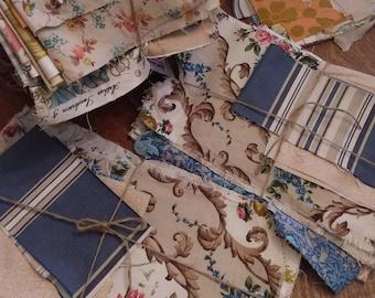 Scrappy packs of vintage fabrics, cotton, linen, florals, stripes