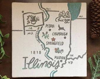 Illinois Souvenir Map 8 x 8 Canvas Screen Printed Home Decor Wall Art