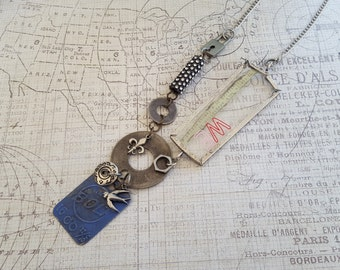"Sale! Altered Art Found Objects ""WE"" & Blue ""BOLT"" Pendants Necklace:Padlock, Rhinestone Industrial Part, Washers, Button, Bird,Fleur de Lis"