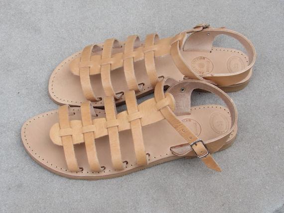Sandals Natural Grecian Beige Greek Sandals Sandals HERMES Ancient Sandals Leather Roman Gladiator Sandals xAzwqw4XW6