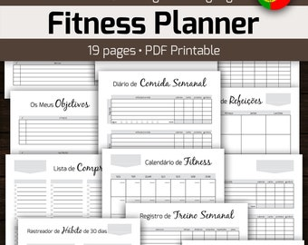 PORTUGUESE Printable Fitness Planner, Measurement and Weight Loss Tracker, Medicine Vitamin Tracker, Routines Habit Tracker Vitamins Tracker
