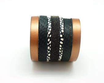 Wide leather magnetic Cuff Bracelet magnetic 60 mm copper / by KUMKA