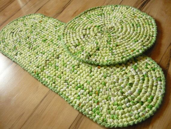 Tappeti Bagno Uncinetto : Straccio tappeti set bagno di tonalità verde