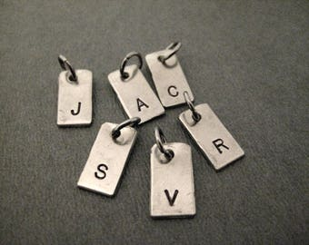 ONE (1) Hand Hammered Nickel Silver INITIAL Charm - Hand Stamped Hand Crafted Little Initial Charm